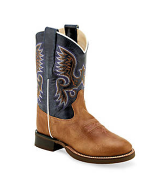 Old West Youth Roper Toe Leather Boots