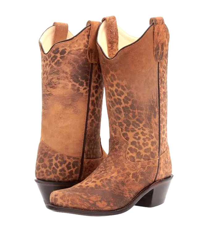 Old West Leopard Print Kids Boots