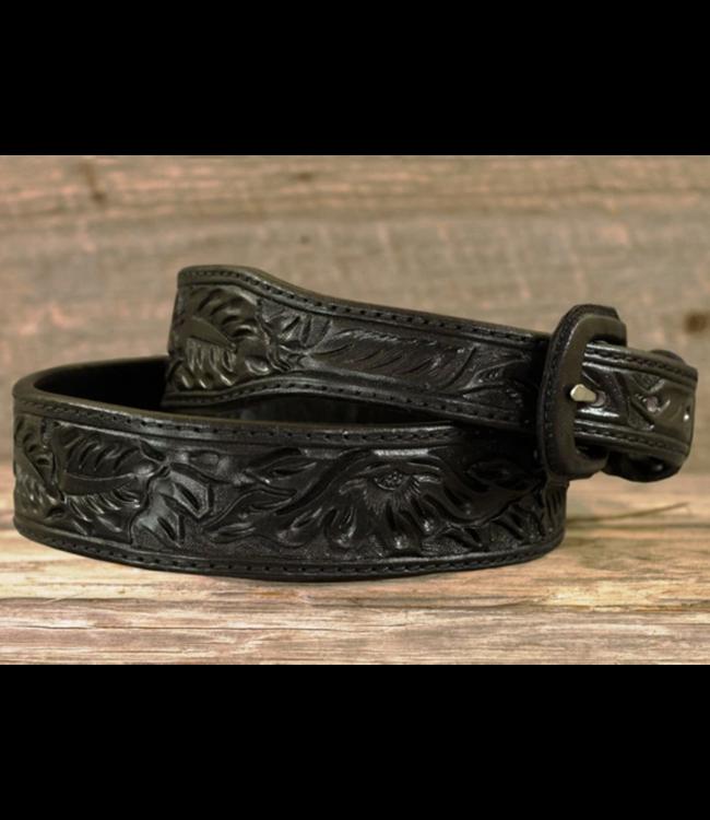 Vogt Black Floral Pattern Belt