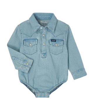 Wrangler Baby Long Sleeve Denim Snap Bodysuit, Multiple Color Options