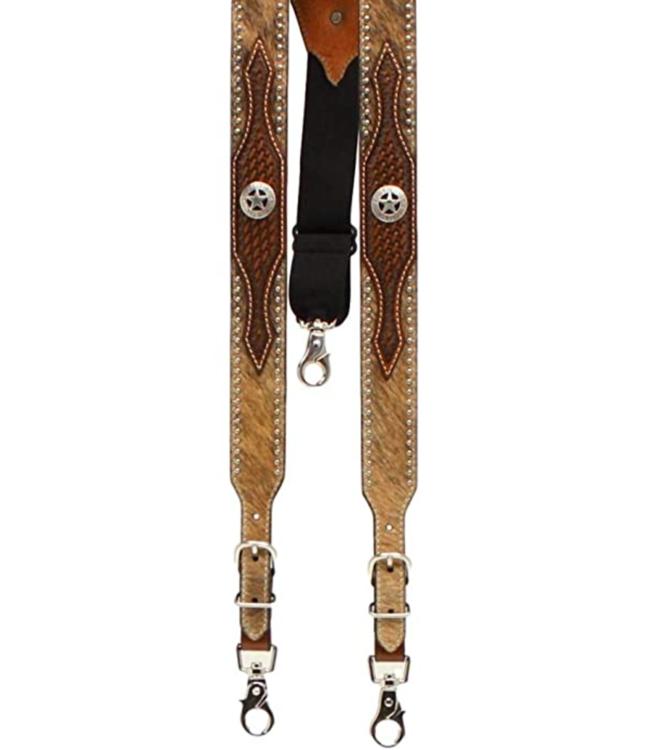M&F Calf Hair Concho Suspenders