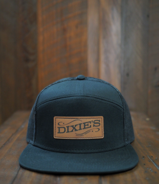 Dixie's Dixie's Logo 7-Panel Flat Brim Cap, Black/Black