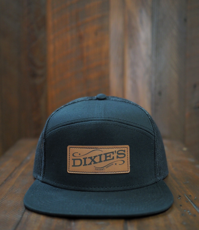 Dixie's Logo 7-Panel Flat Brim Cap, Black/Black