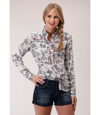 Stetson & Roper Apparel Summer Day Print Rayon Blouse
