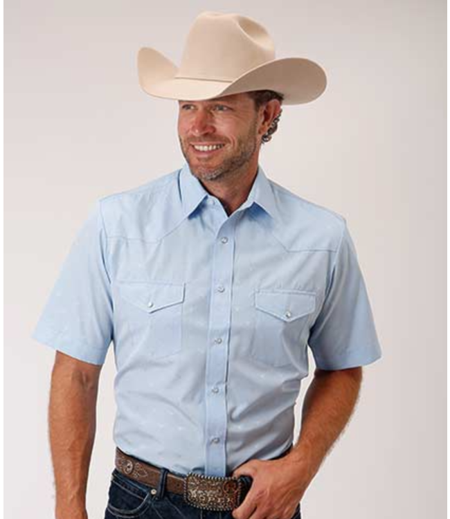 Roper Long Horn Shortt Sleeve Snap Shirt