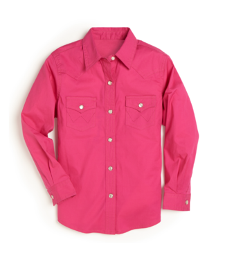 Wrangler Girls Long Sleeve Solid Western Snap Shirt