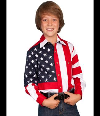 Scully Boys Long Sleeve Stars & Flag Snap Shirt