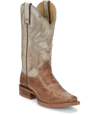 Justin Willa Smooth Ostrich Boots, Tan
