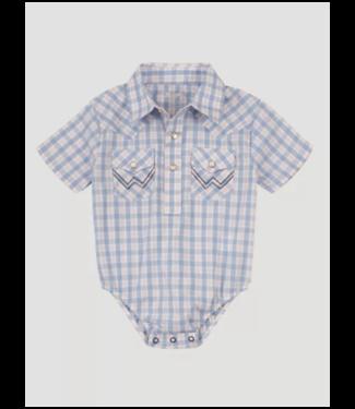 Wrangler Infant Boys Short Sleeve Plaid Snap Onesie