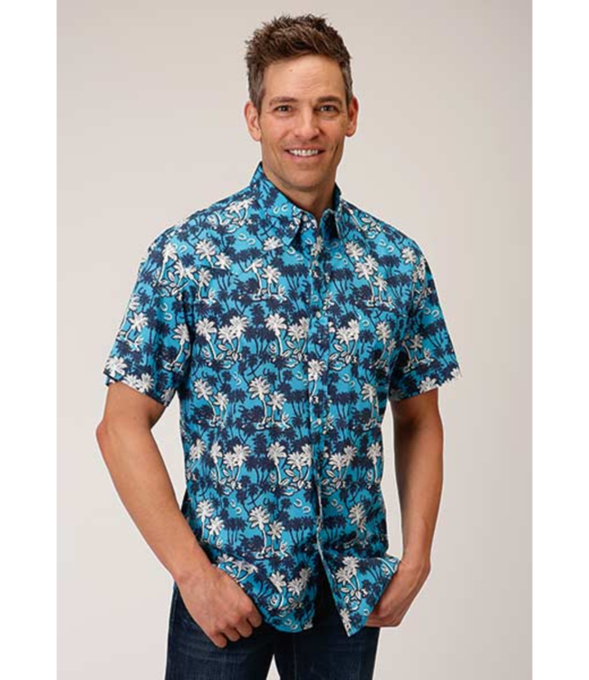 Roper Fitted Beach Print Shirt