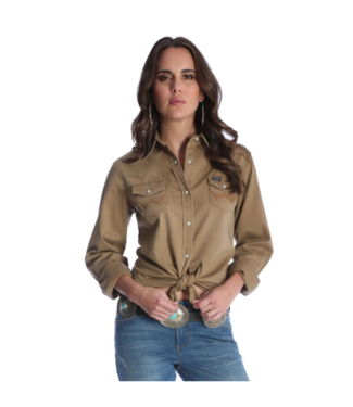 Wrangler Solid Long Sleeve Snap Shirt