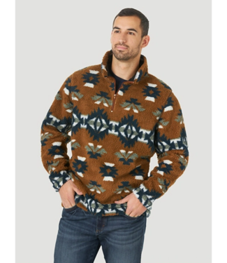 Wrangler 1/4 Zip Sherpa Print Sweater