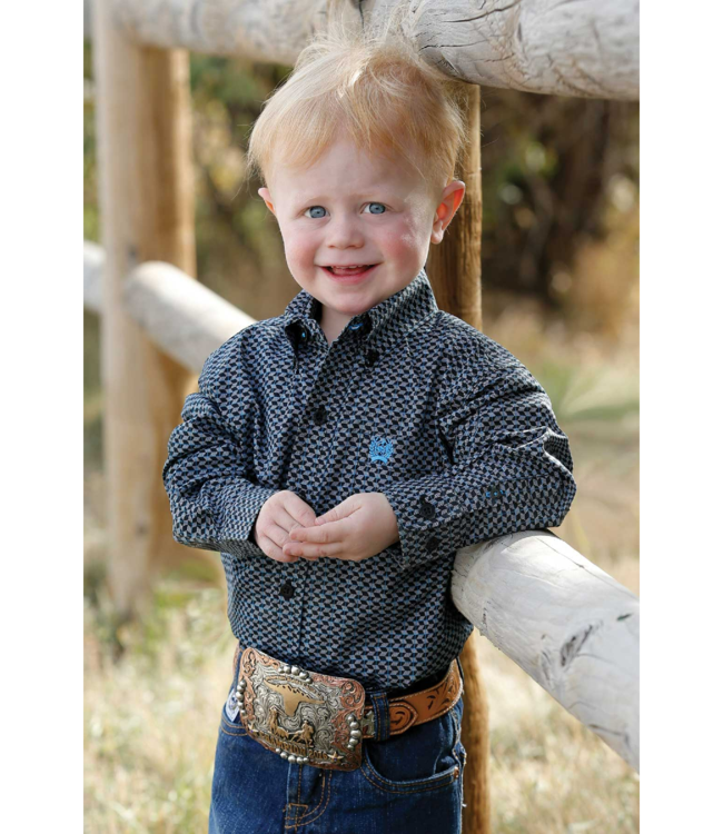 Cinch Infant Boys Long Sleeve Print Button Shirt