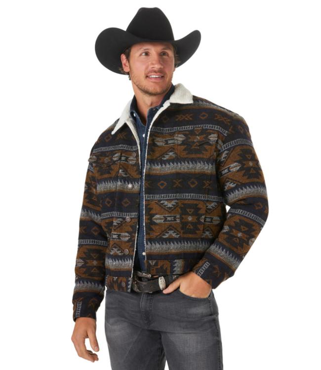 Wrangler Sherpa Lined Jacquard Wool Jacket