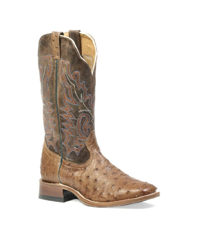 Boulet Full Quill Ostrich Wide Square Toe Boots