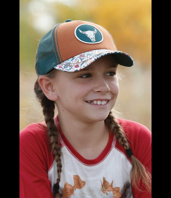 Cinch Girls Mesh Trucker Steer Skull Cap, Gold: OSFA