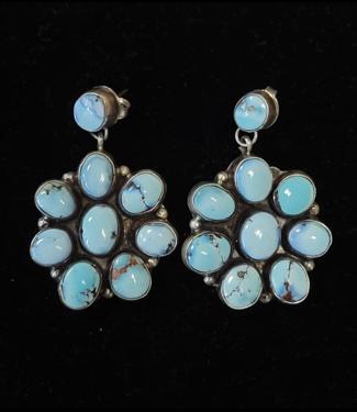 Sunwest Silver Golden Hills Turquoise Cluster Earrings