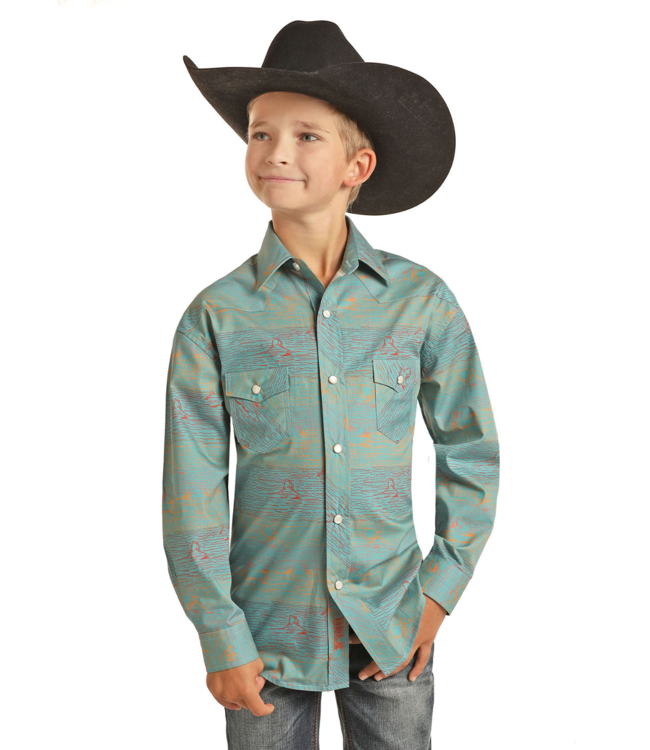 Panhandle Slim Boys Long Sleeve Fitted Dale Brisby Snap Shirt
