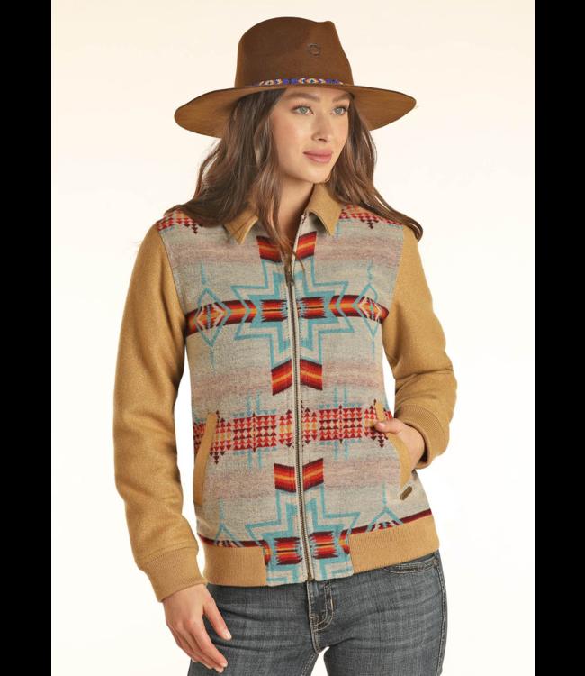 Panhandle Slim Aztec Jacquard Wool Bomber Jacket