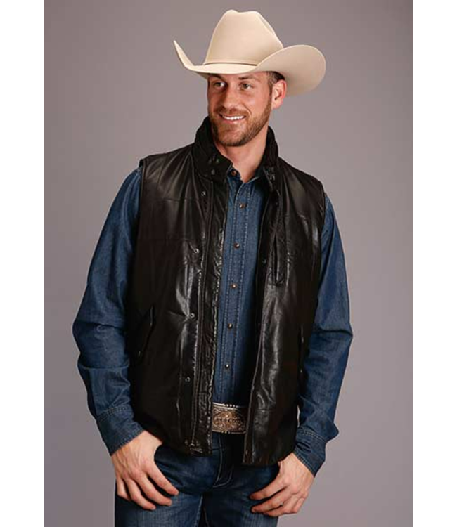 Stetson Leather Reversible Camo Print Vest