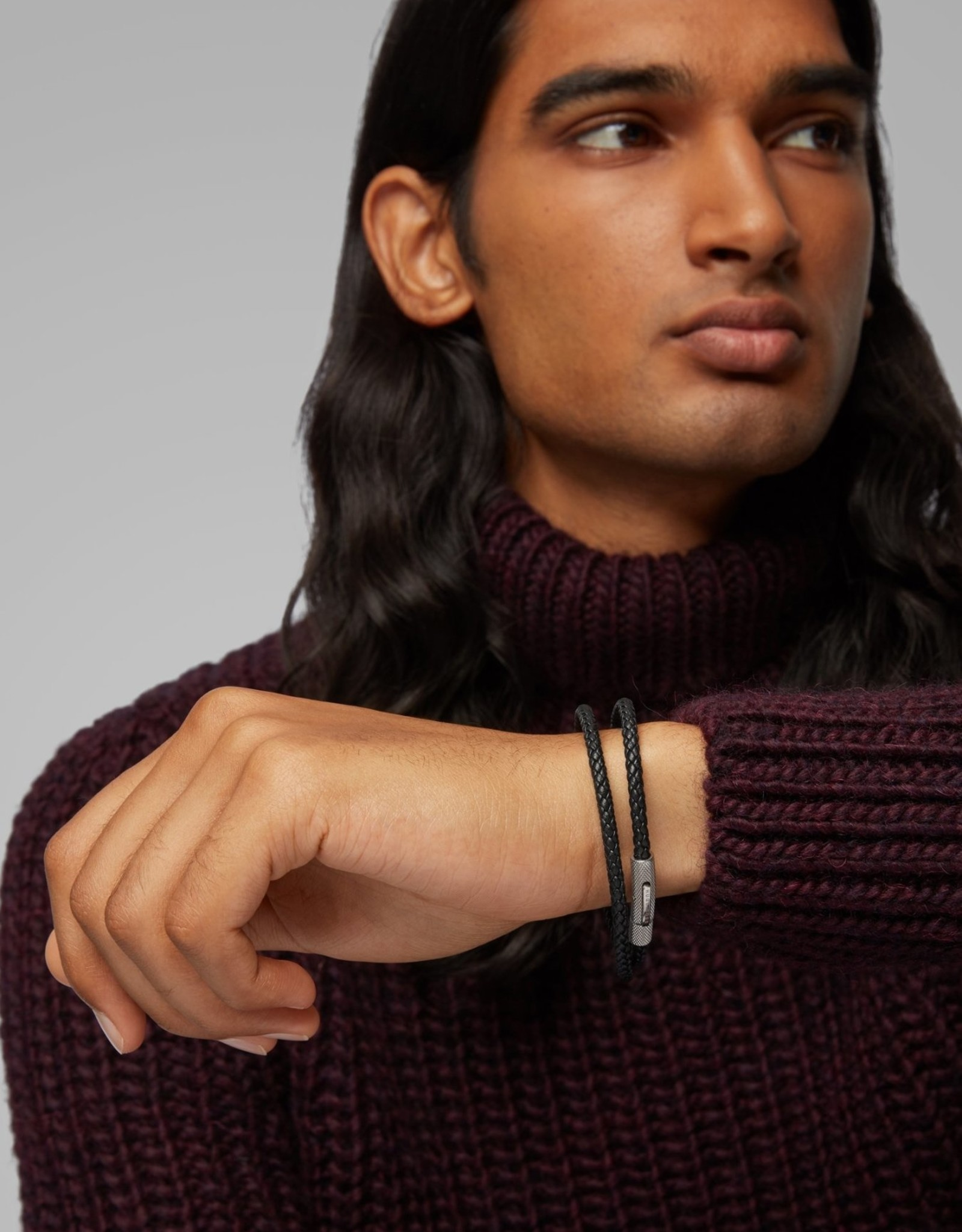 Hugo Boss Hugo Boss Double-Wrap Braided Leather Bracelet