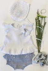 Mayoral 2pc Tricot knit set white flutter silver bloomer Mayoral inf 1255