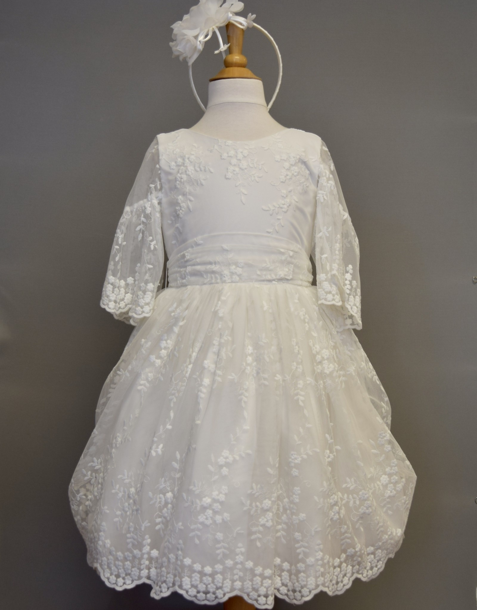 Abel & Lula Dress White lace tulle bell sleeve