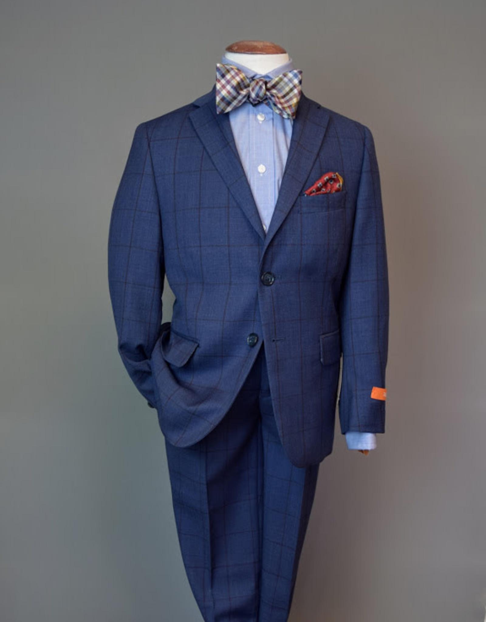 Tallia Suit Royal Blue w-burgundy windowpane