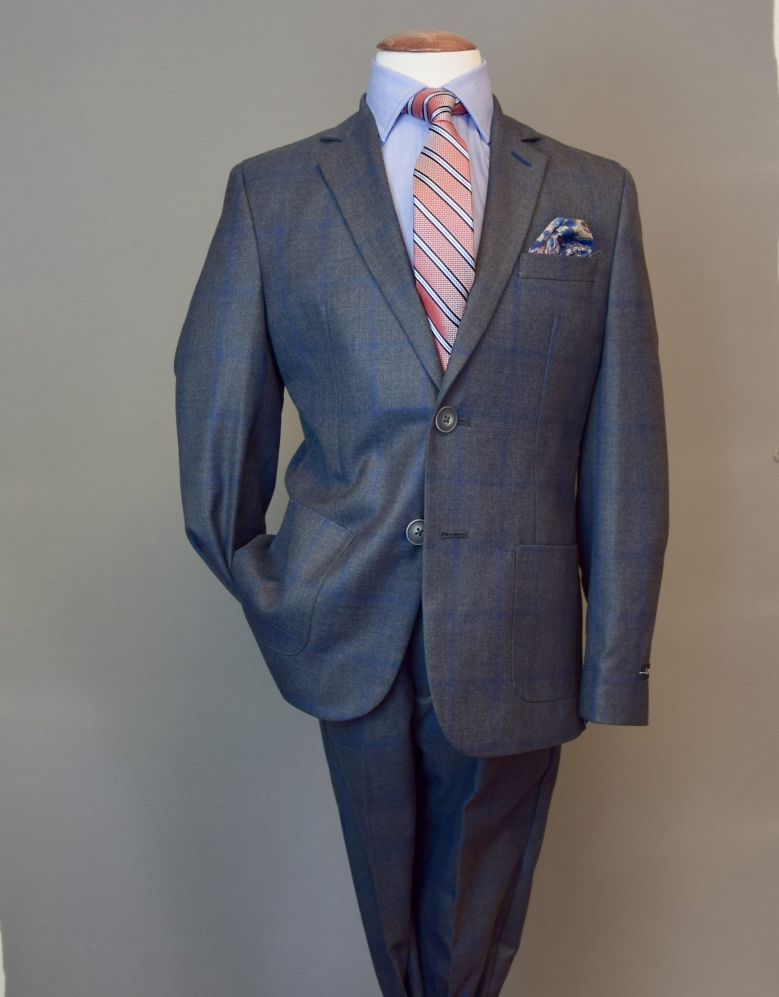 Leo and Zachary Suit oxford-grey w-blue windowpane