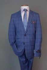 Andrew Marc Navy royal blue plaid slim-fit Suit