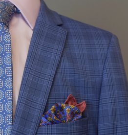 Andrew Marc Navy royal blue plaid slim-fit Suit