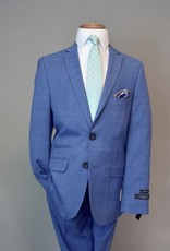 Andrew Marc Suit Slim-Fit Bright Blue  Plaid