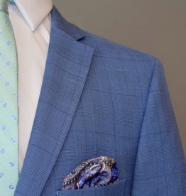 Andrew Marc Suit Slim Fit Bright Blue Plaid