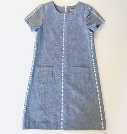 Luli Embroidered Chambray Dress 4-14y