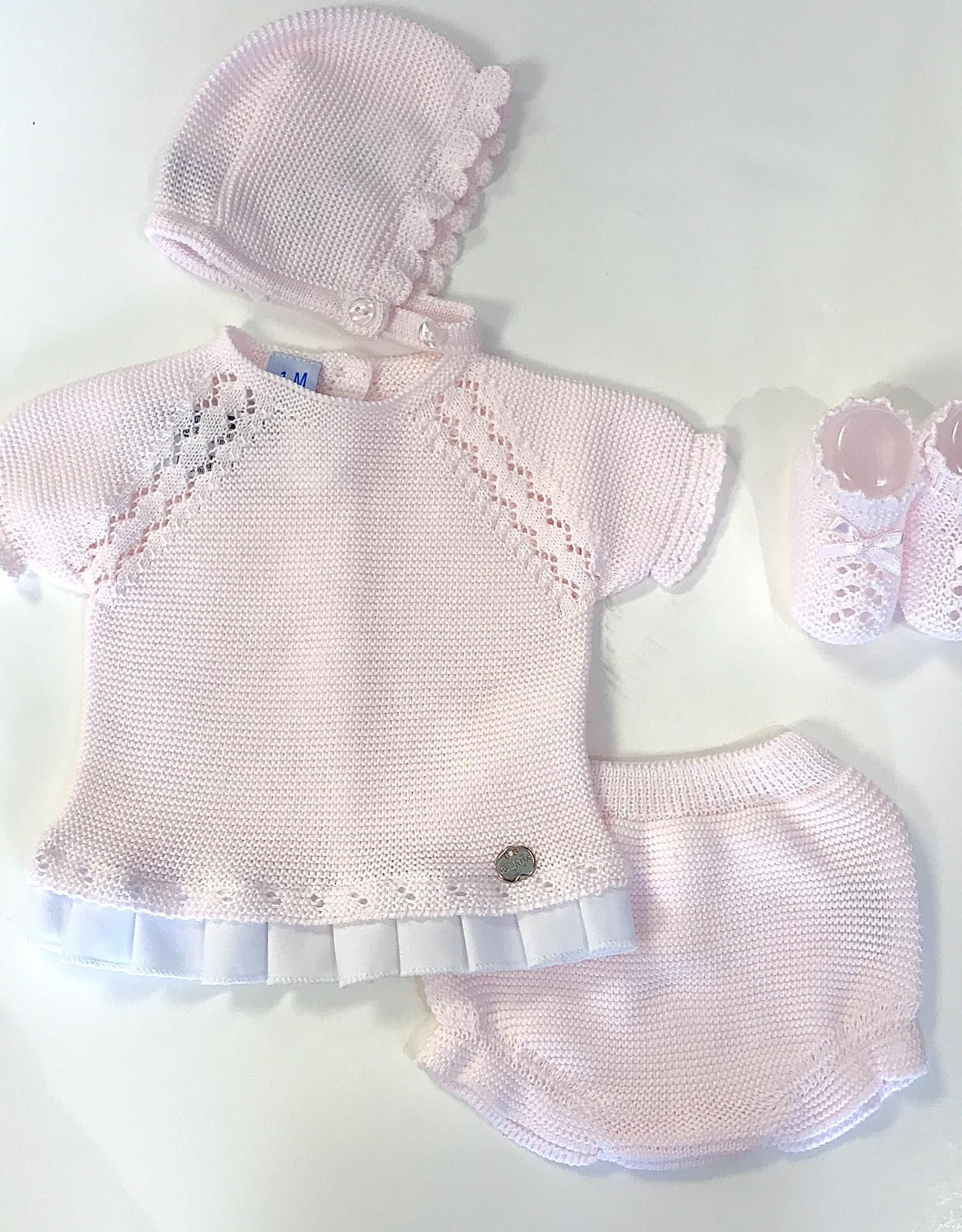 Juliana Juliana Girls Knit Set with ruffle trim