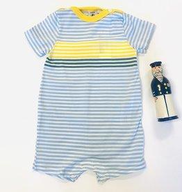 Petit Bateau Romper blue yellow stripe 6m-24m