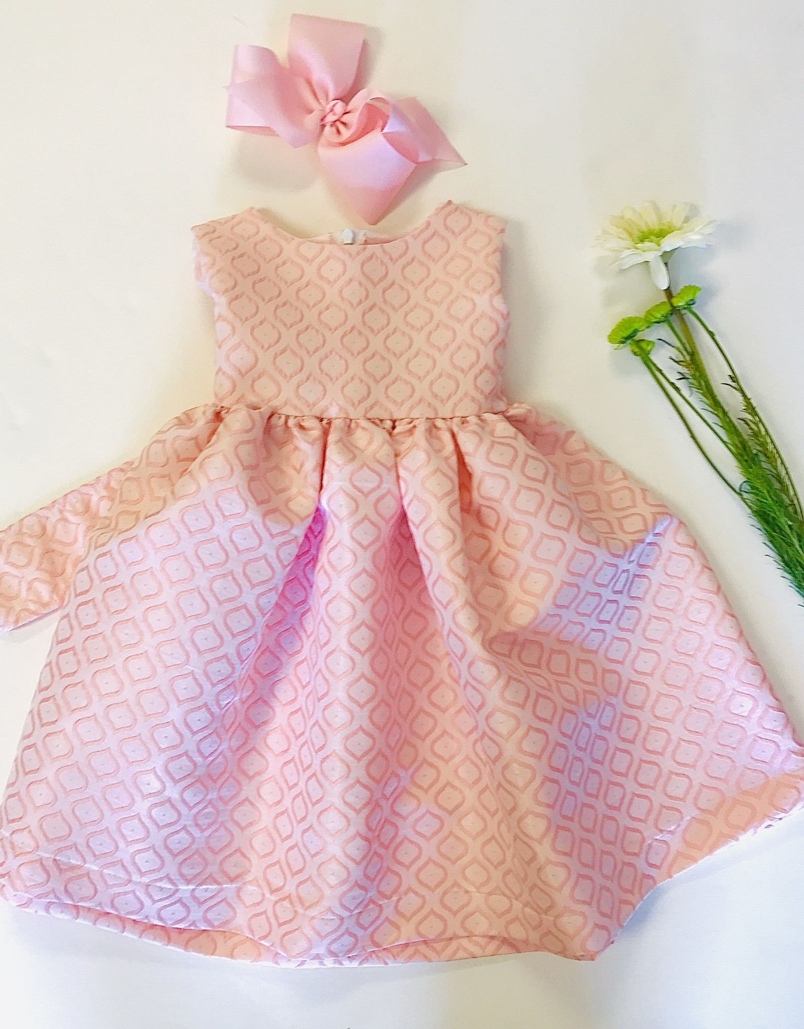 Funtasia Dress Peach Jacquard sleeveless Maggie Breen