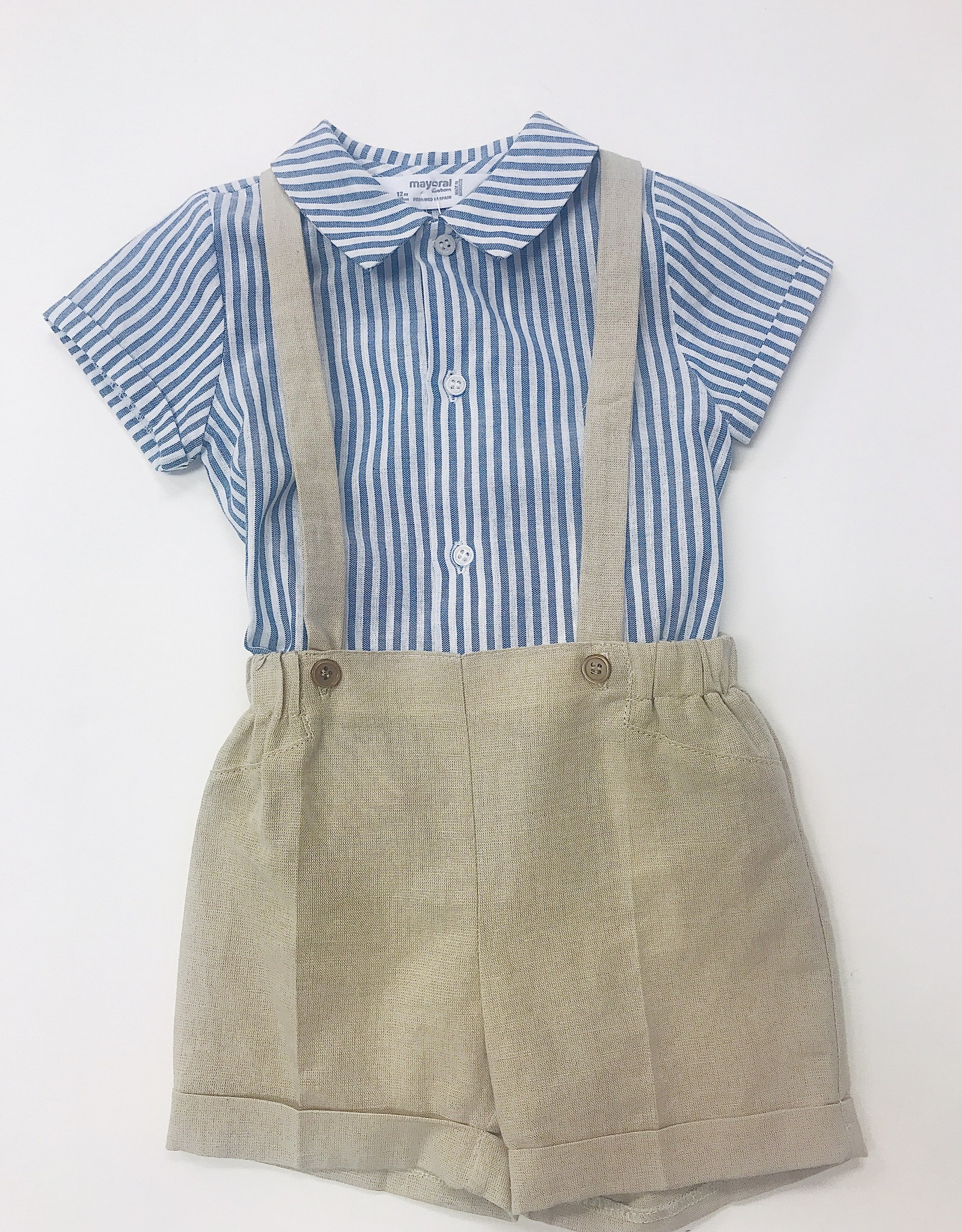 Mayoral Shortset khaki suspender blue stripe shirt Mayoral