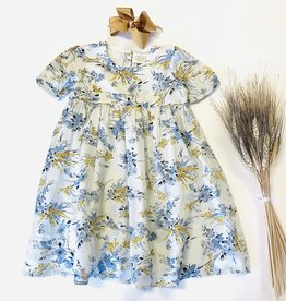 Creamie Gold Blue Print Dress Sz 2-6