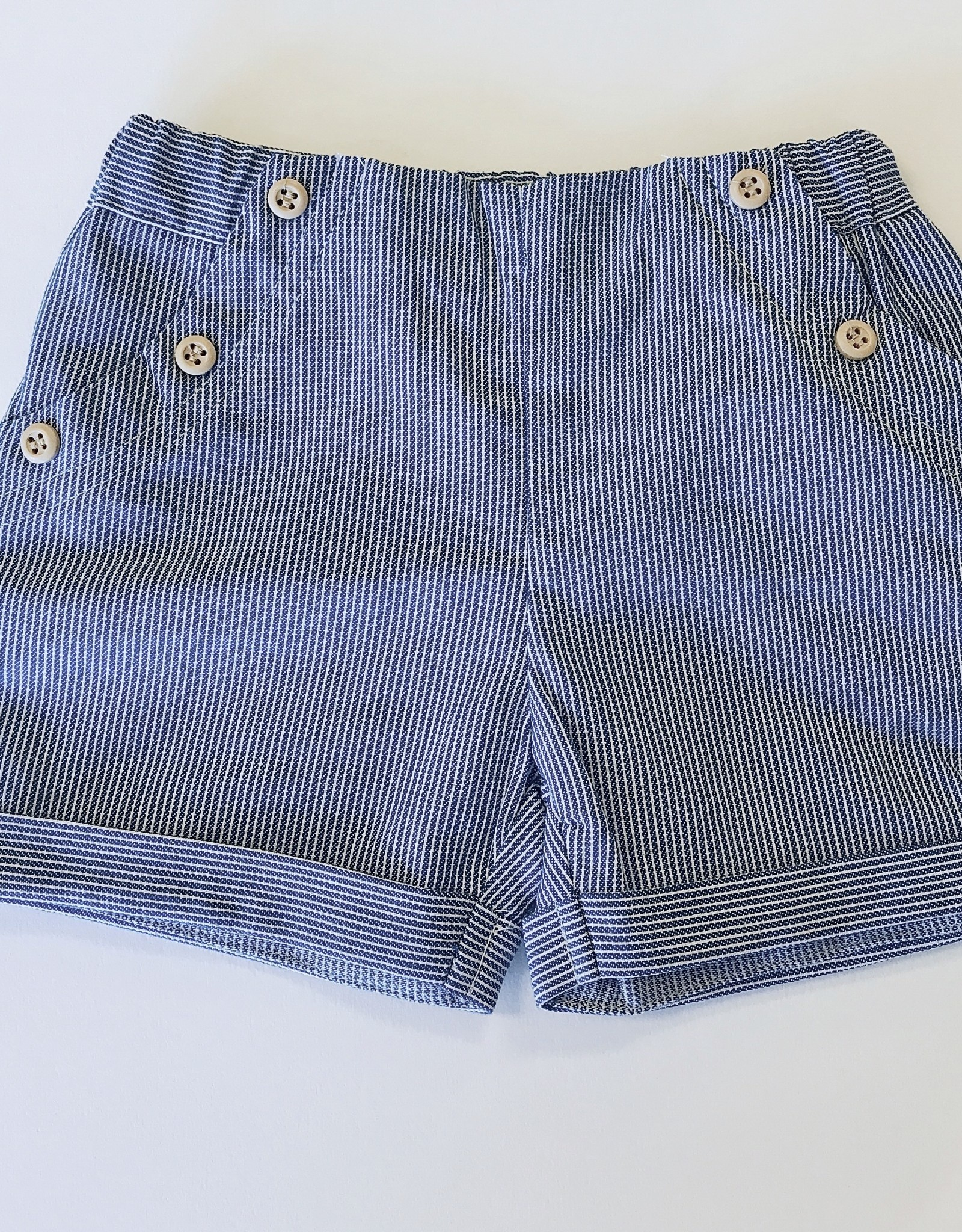 Mayoral Short Blue Ticking dbl Buttons 2-4m to 18m