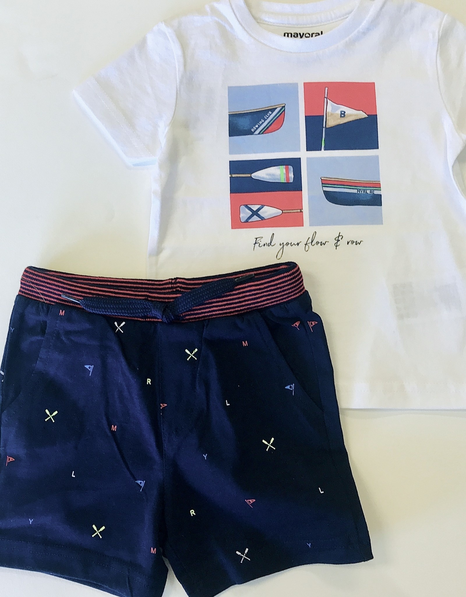 Mayoral Short Navy Knit Flags & Oars 6m - 36m