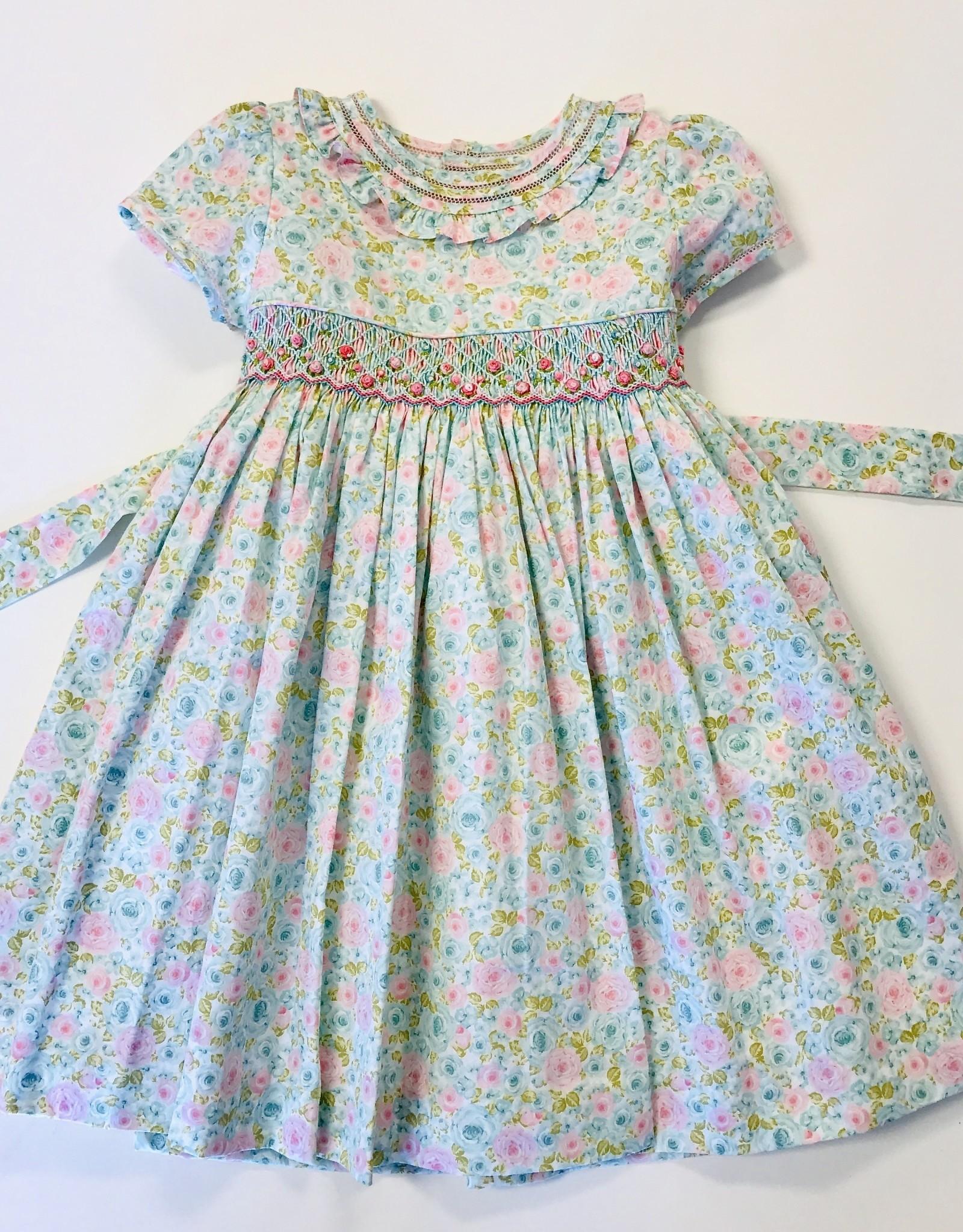Luli Smocked Rose print Dress