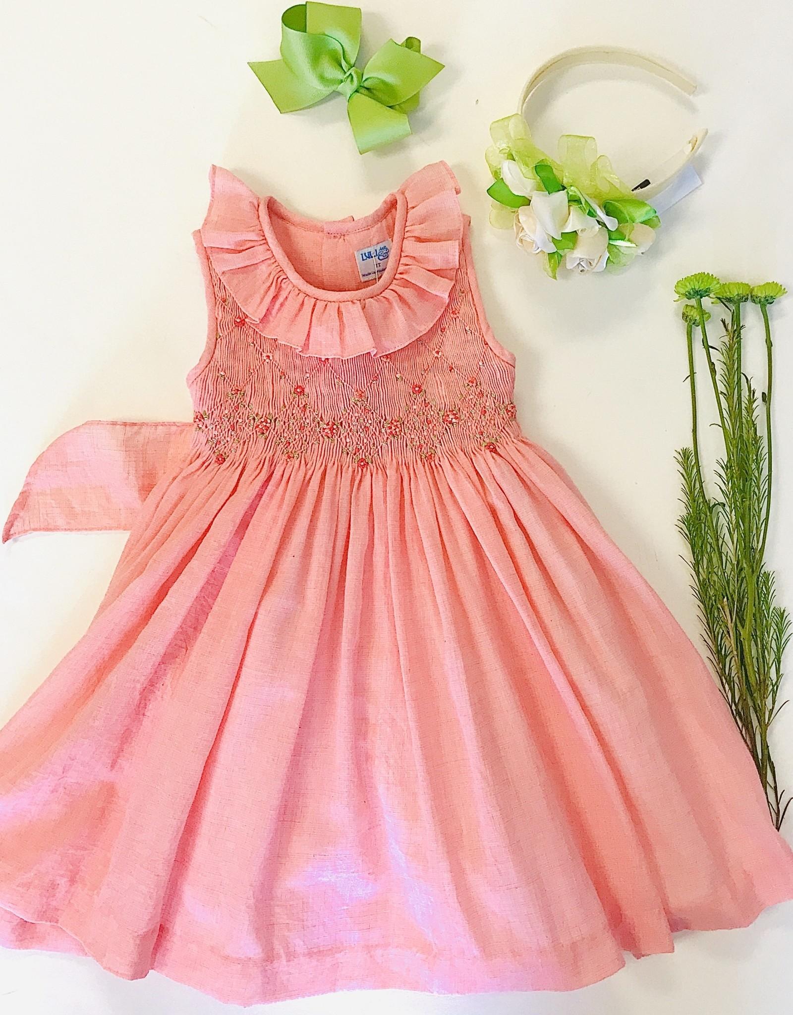 Luli Coral Smocked Dress