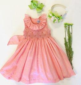 Luli Coral Smocked Dress 2t-7y