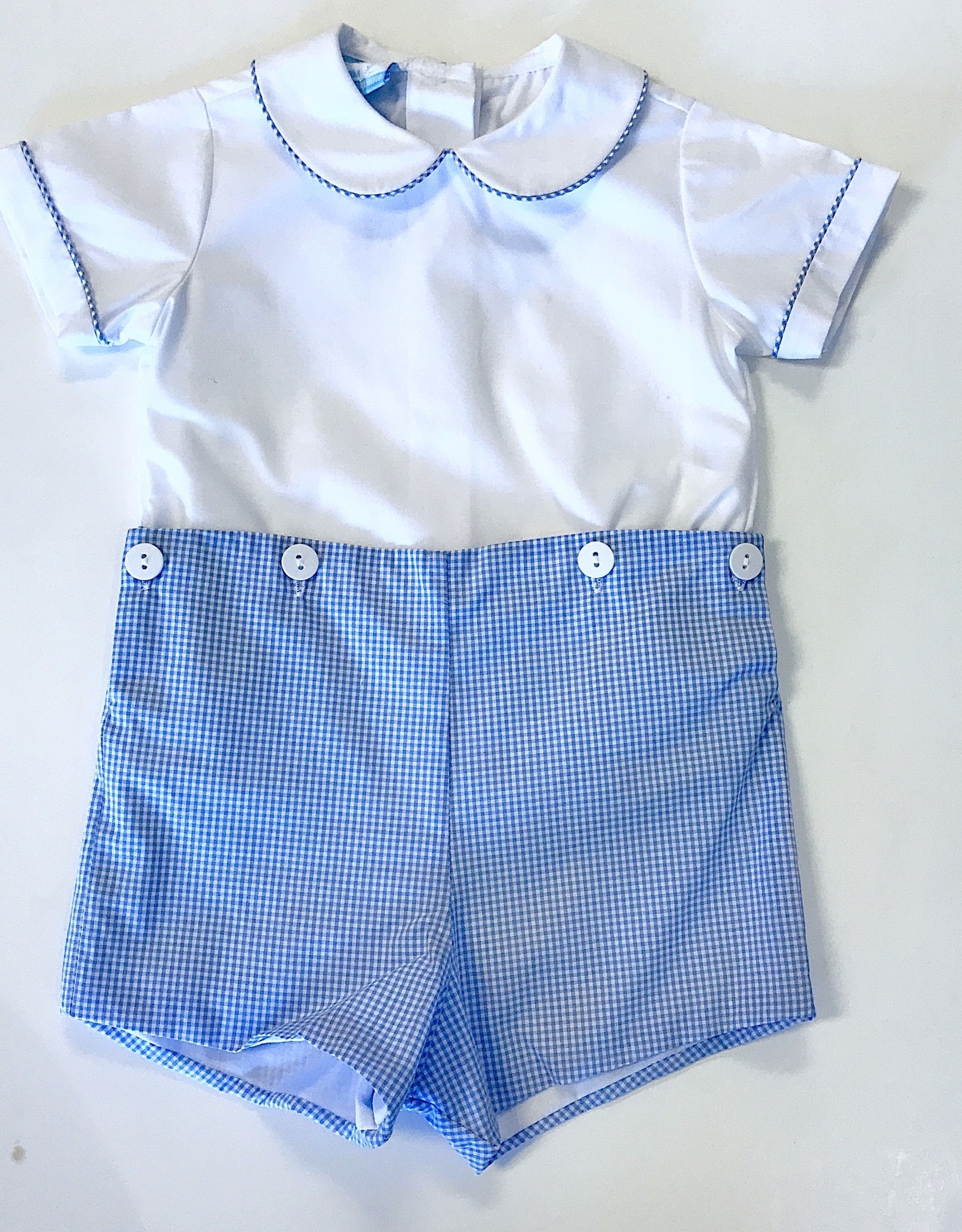 Petitbebe Blue Mini Check Shosrtset