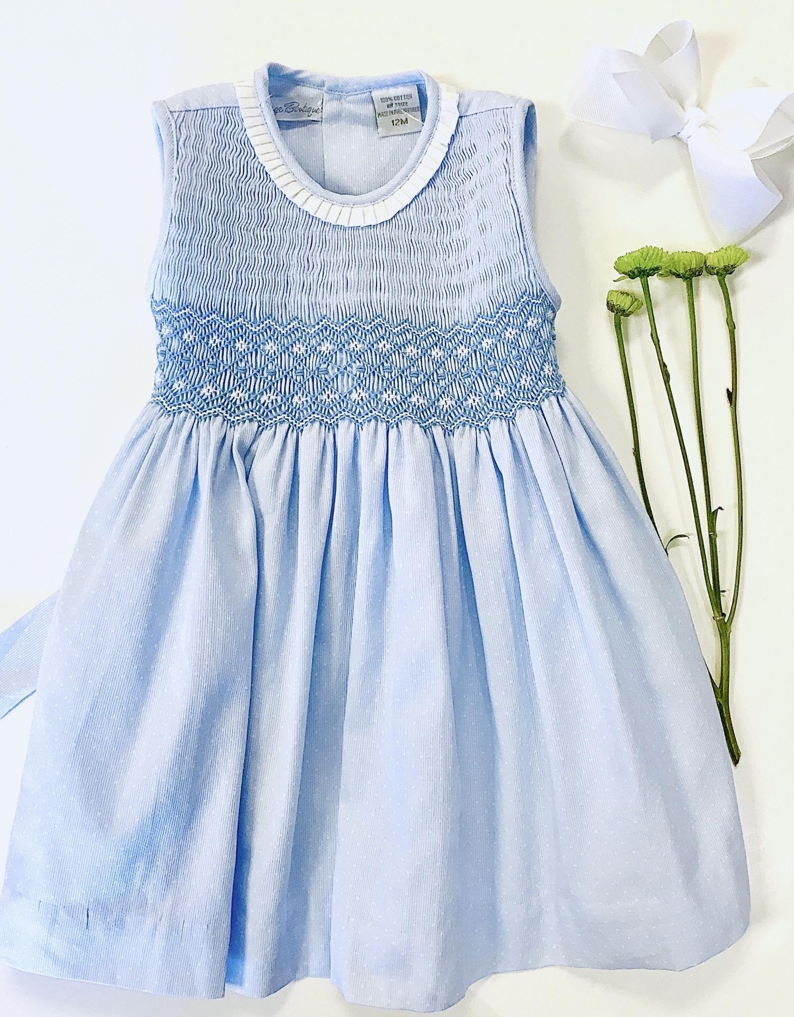 Boutique Collection LtBlue Pique Smocked Dress