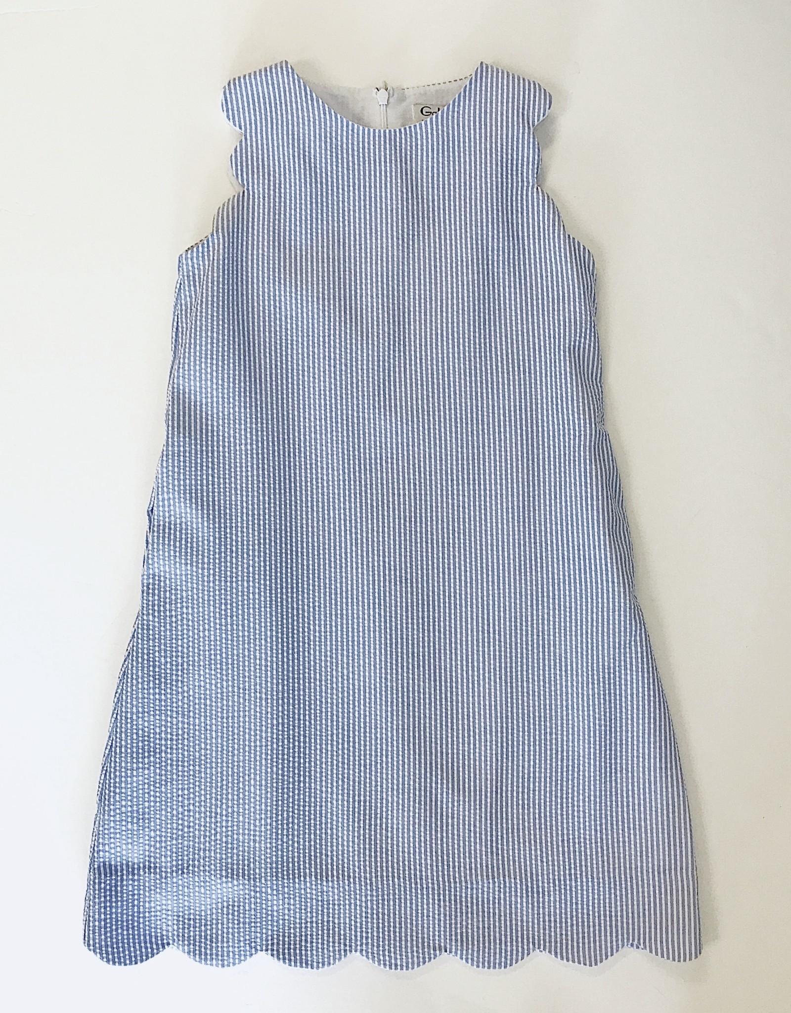 Gabby Blue Seersucker Scallop Dress