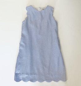 Gabby Blue Seersucker Scallop Dress 7-14