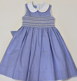 Anavini Smocked Royal Stripe  Dress 4-6x