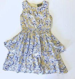 Creamie Yellow Navy print Dress 7-14Y